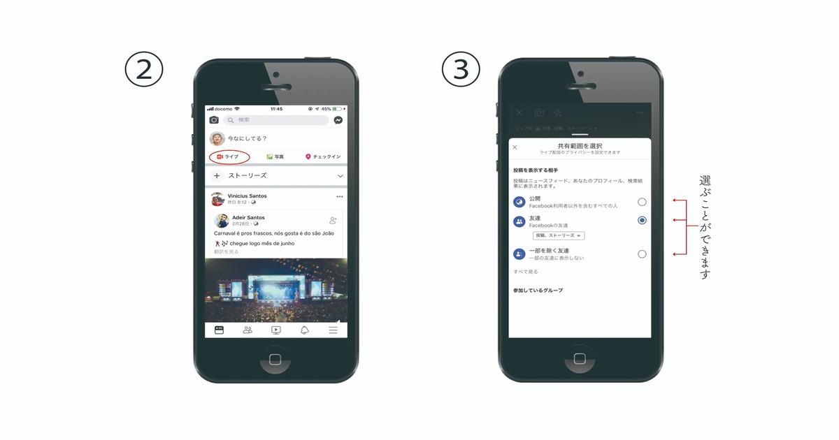 Facebookライブ配信の方法1