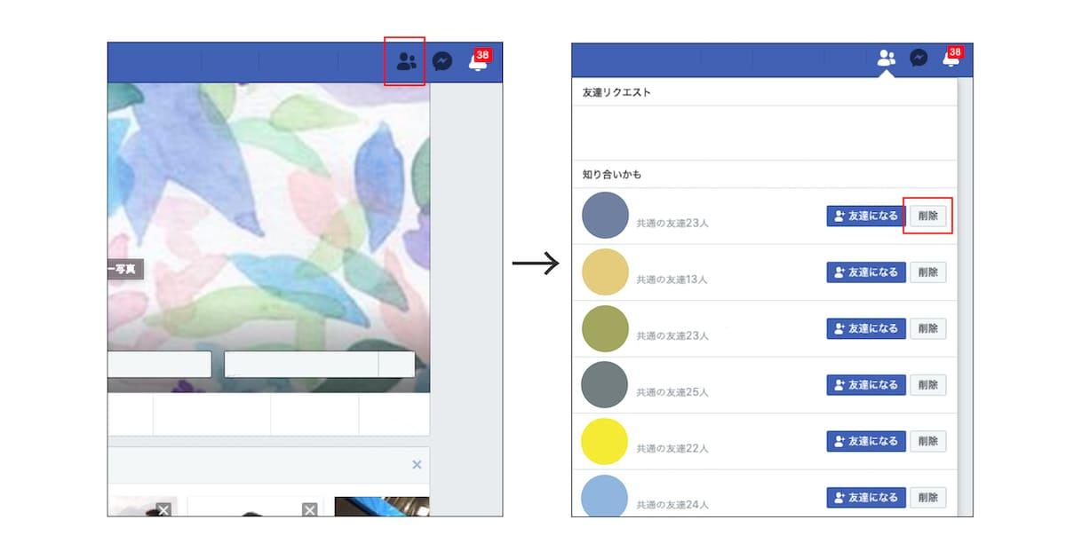 Facebookの知り合いかもの削除方法